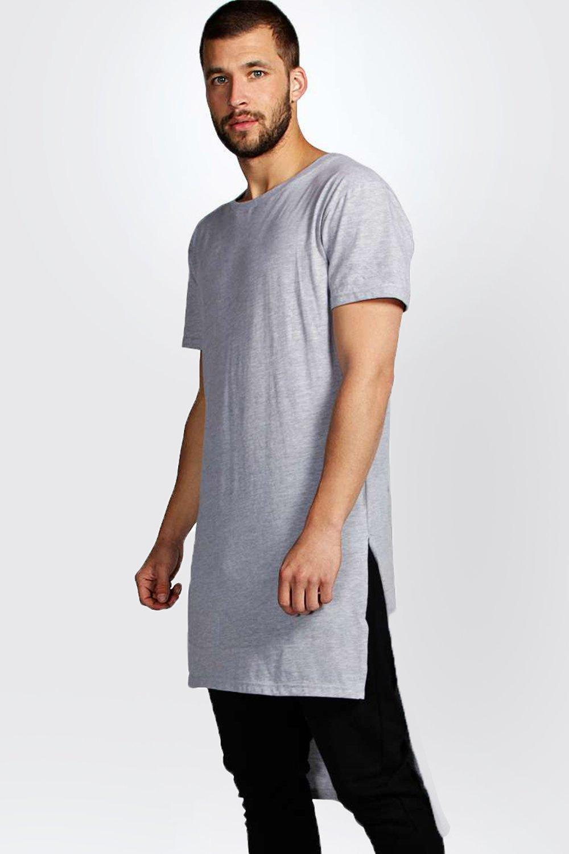 boohoo mens longline crew neck t shirt ebay