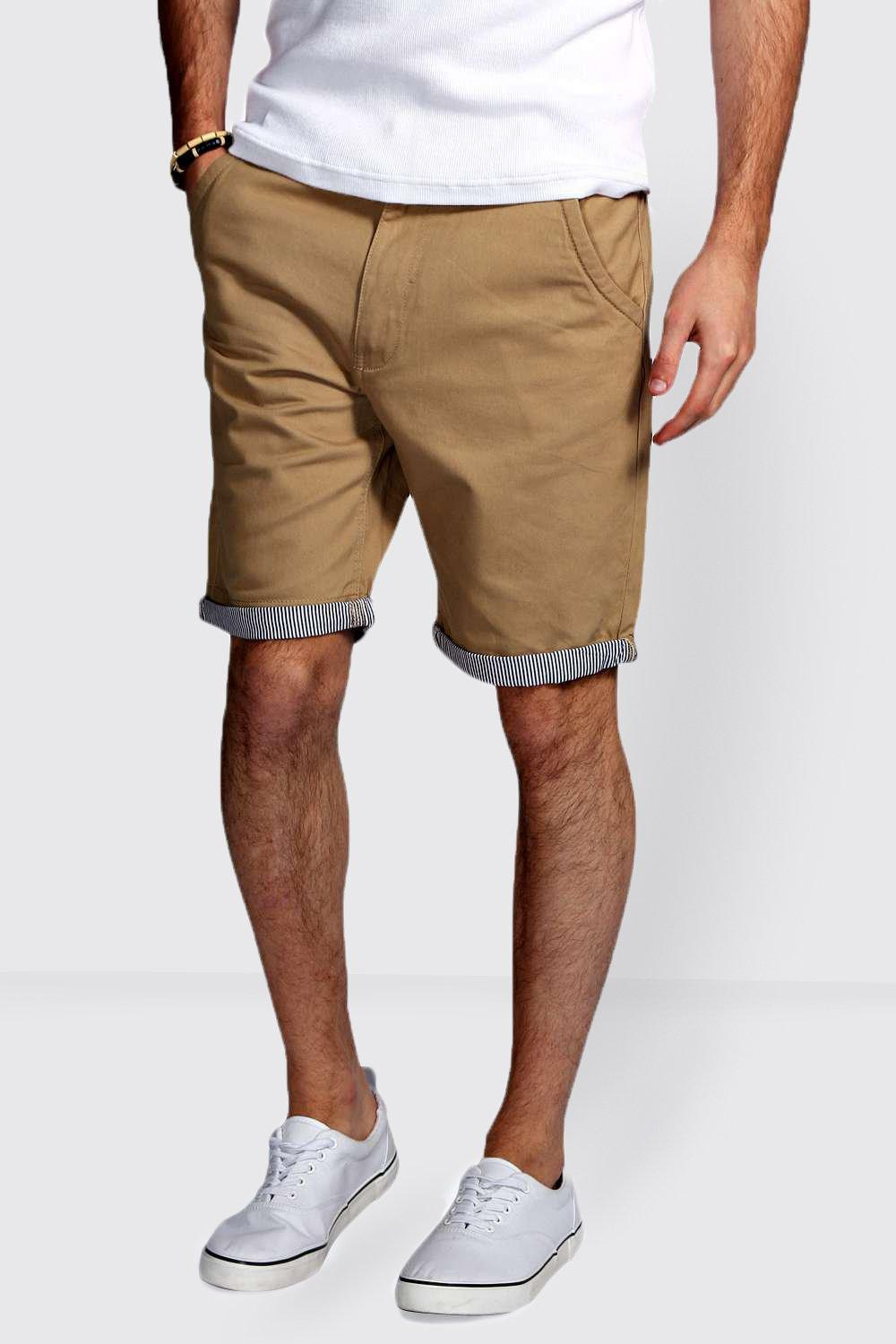 Chino Shorts with Stripe Turn Ups