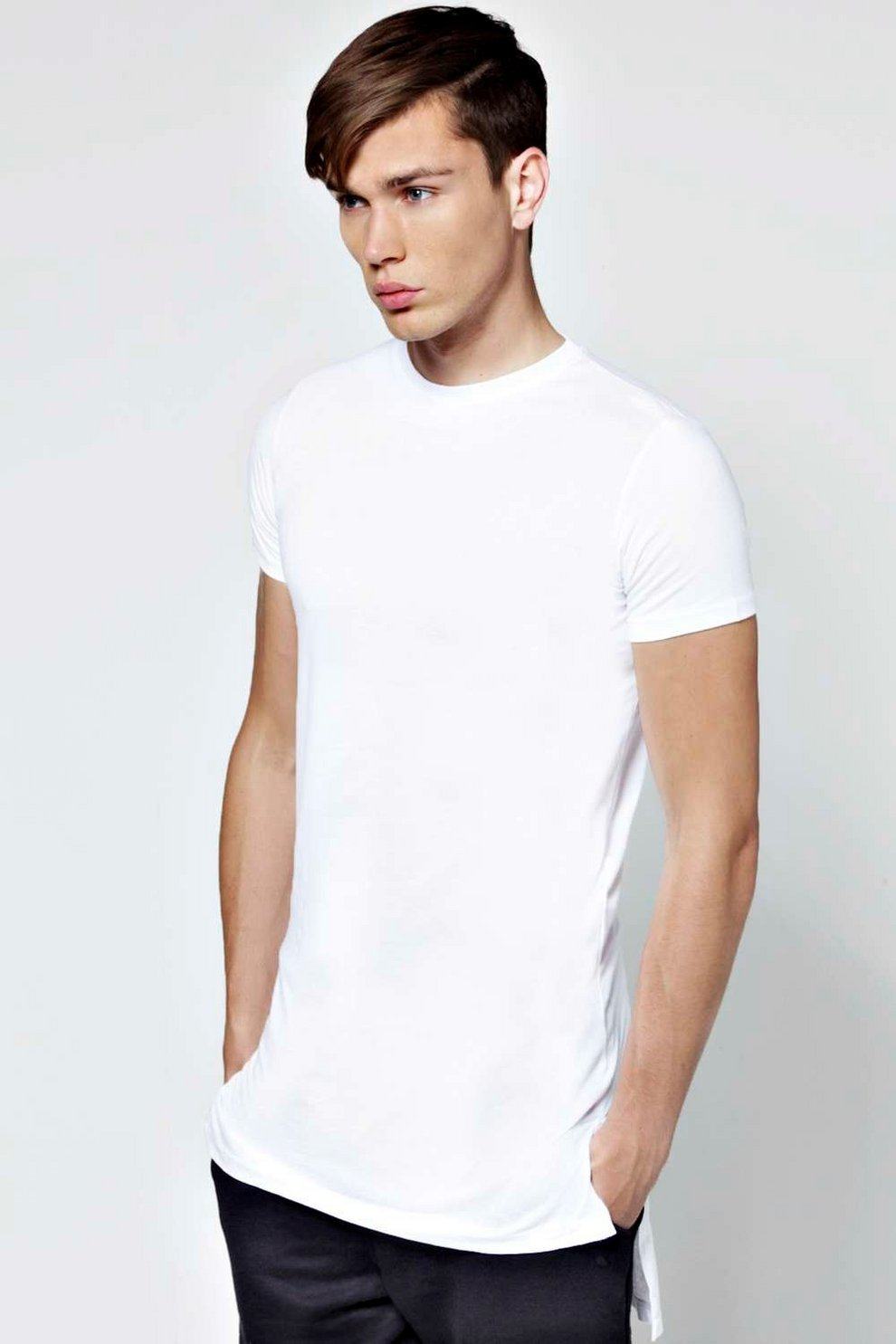 Slim Fit Longline T Shirt with Stepped Hem