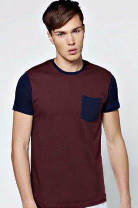 Slim Fit Crew Neck T Shirt with Contrast Details