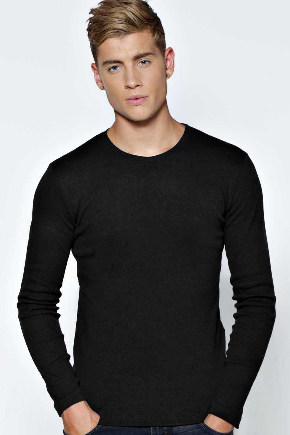 Boohoo Mens Long Sleeve Crew Neck Ribbed T Shirt Ebay