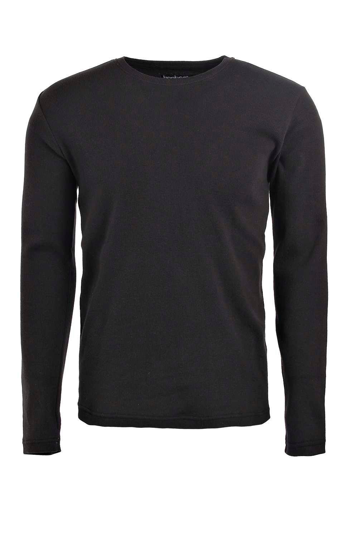 Boohoo mens long sleeve crew neck ribbed t shirt ebay for Ribbed long sleeve shirt