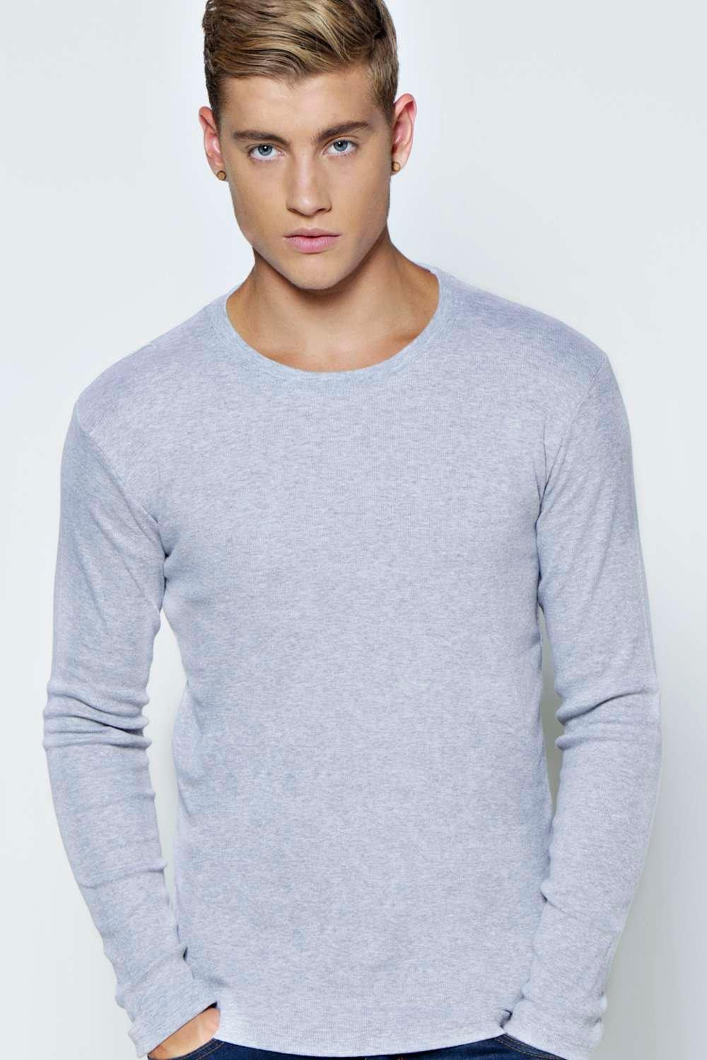 Sleeve Crew Neck Ribbed T Shirt  grey