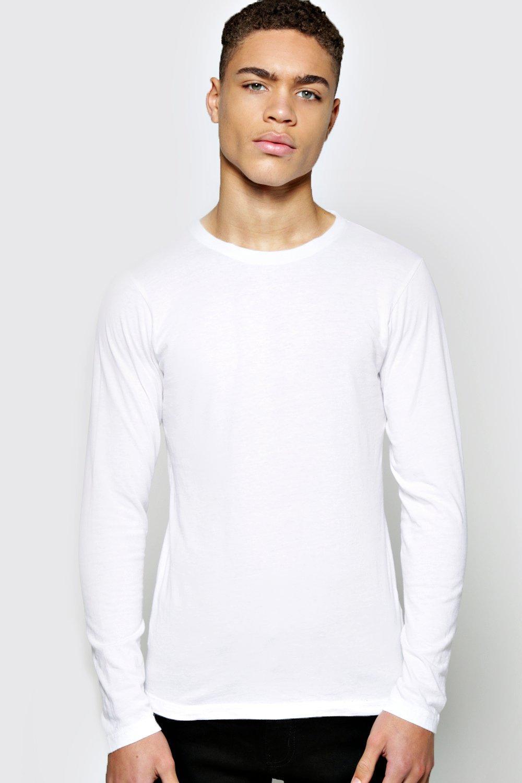 Sleeve Crew Neck Ribbed T Shirt  white