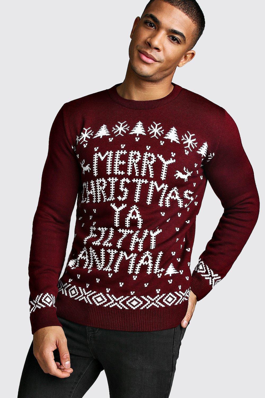 Christmas Ya Filthy Animal Jumper  wine