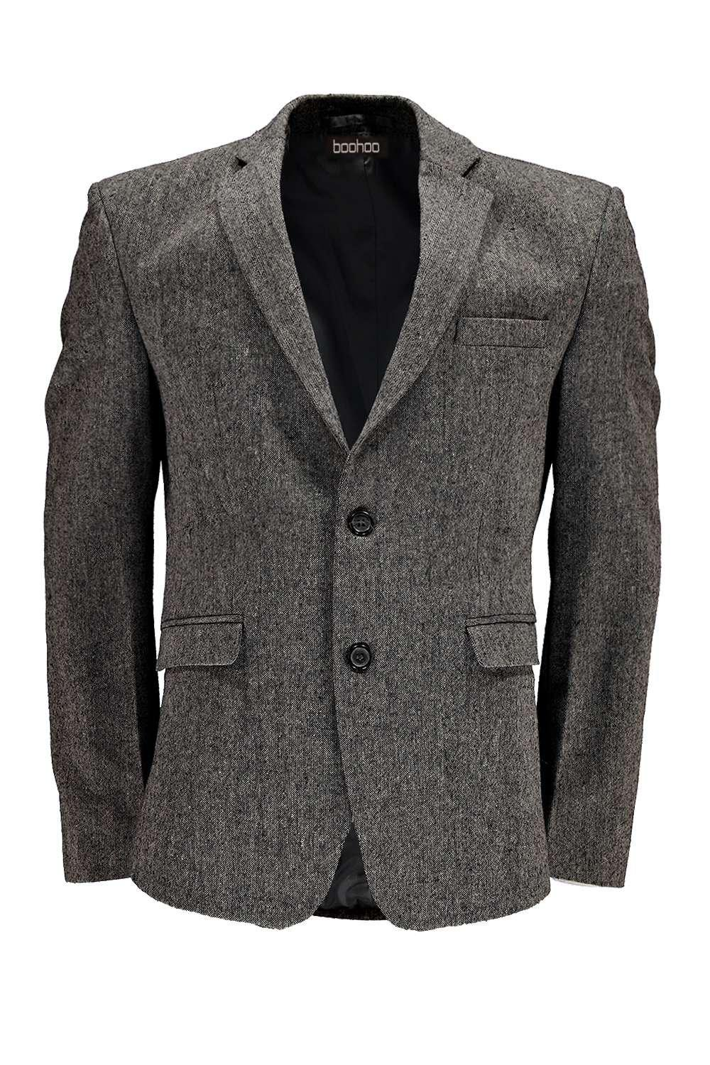boohoo blazer slim en tweed pour homme ebay. Black Bedroom Furniture Sets. Home Design Ideas