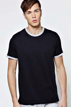 Crew Neck T Shirt with Contrast Neck & Cuff