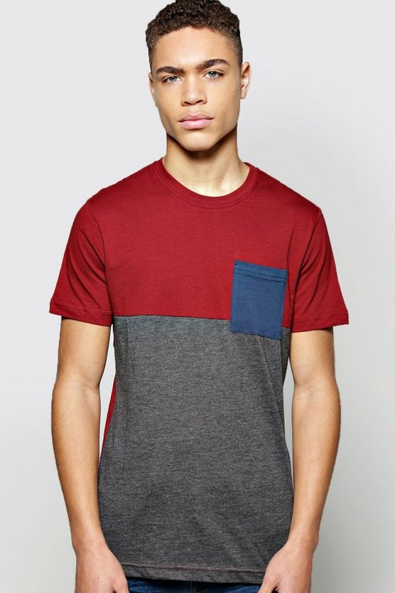 Colour Block T Shirt With Pocket