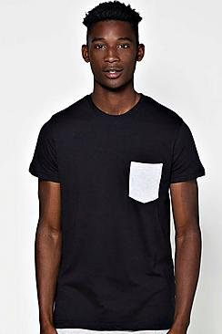 Crew Neck Contrast Pocket T Shirt