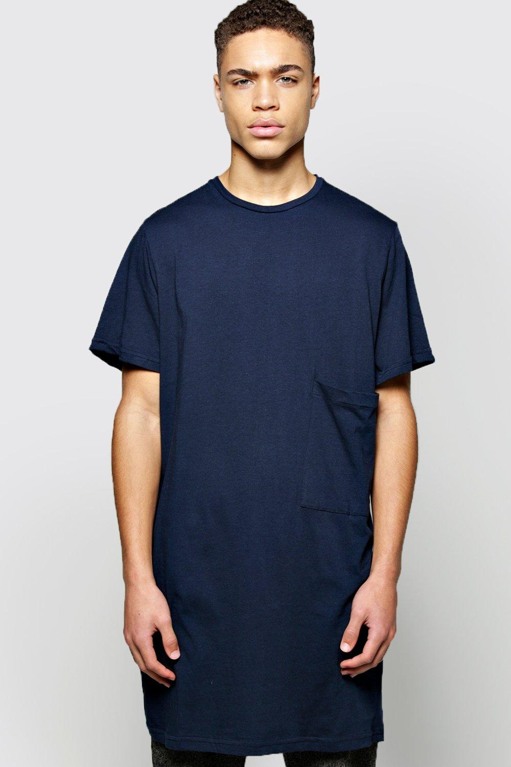 Boohoo Mens Oversized Pocket Long Line T Shirt