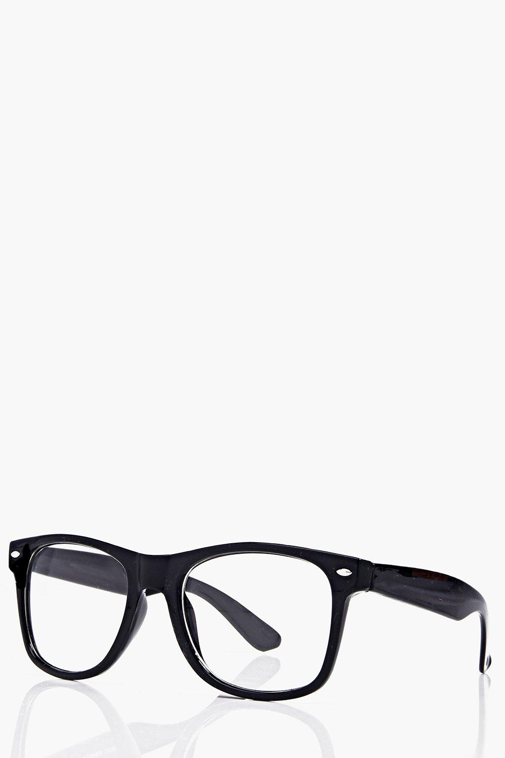 boohoo Geek Clear Lens Glasses - black