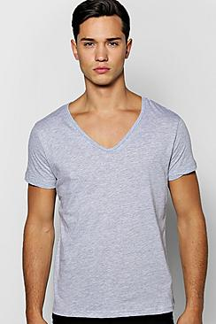 Basic Deep V Neck T Shirt