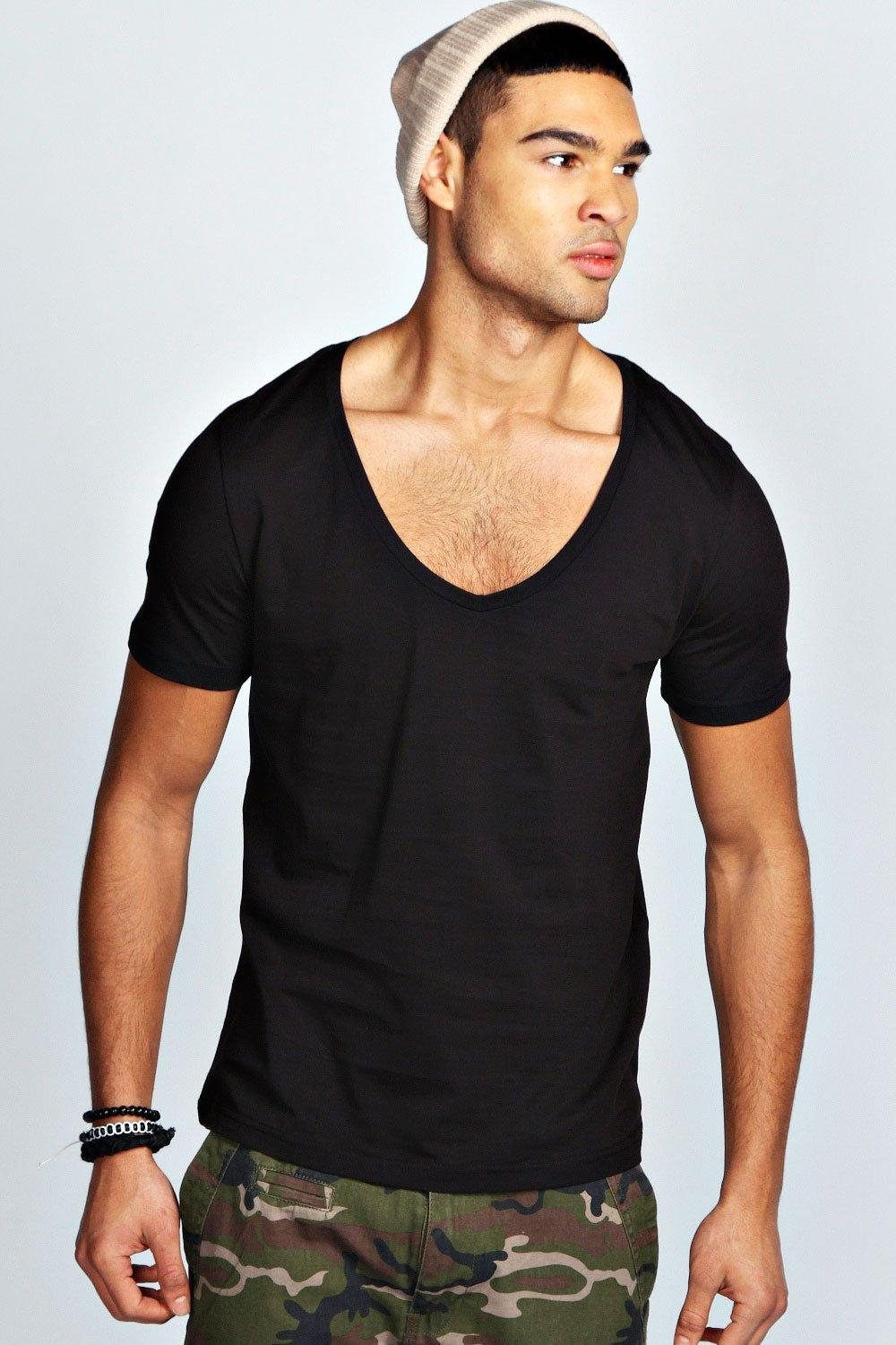 Boohoo Mens Deep V Neck T Shirt Ebay