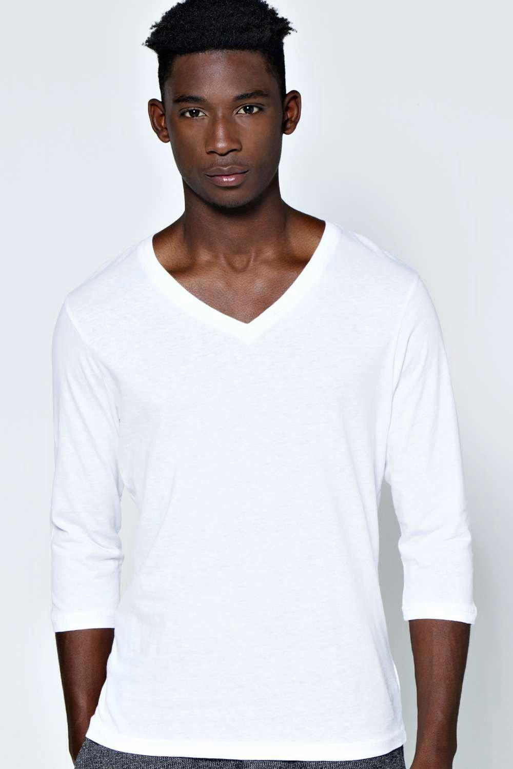 Basic 3/4 Sleeve V Neck T Shirt