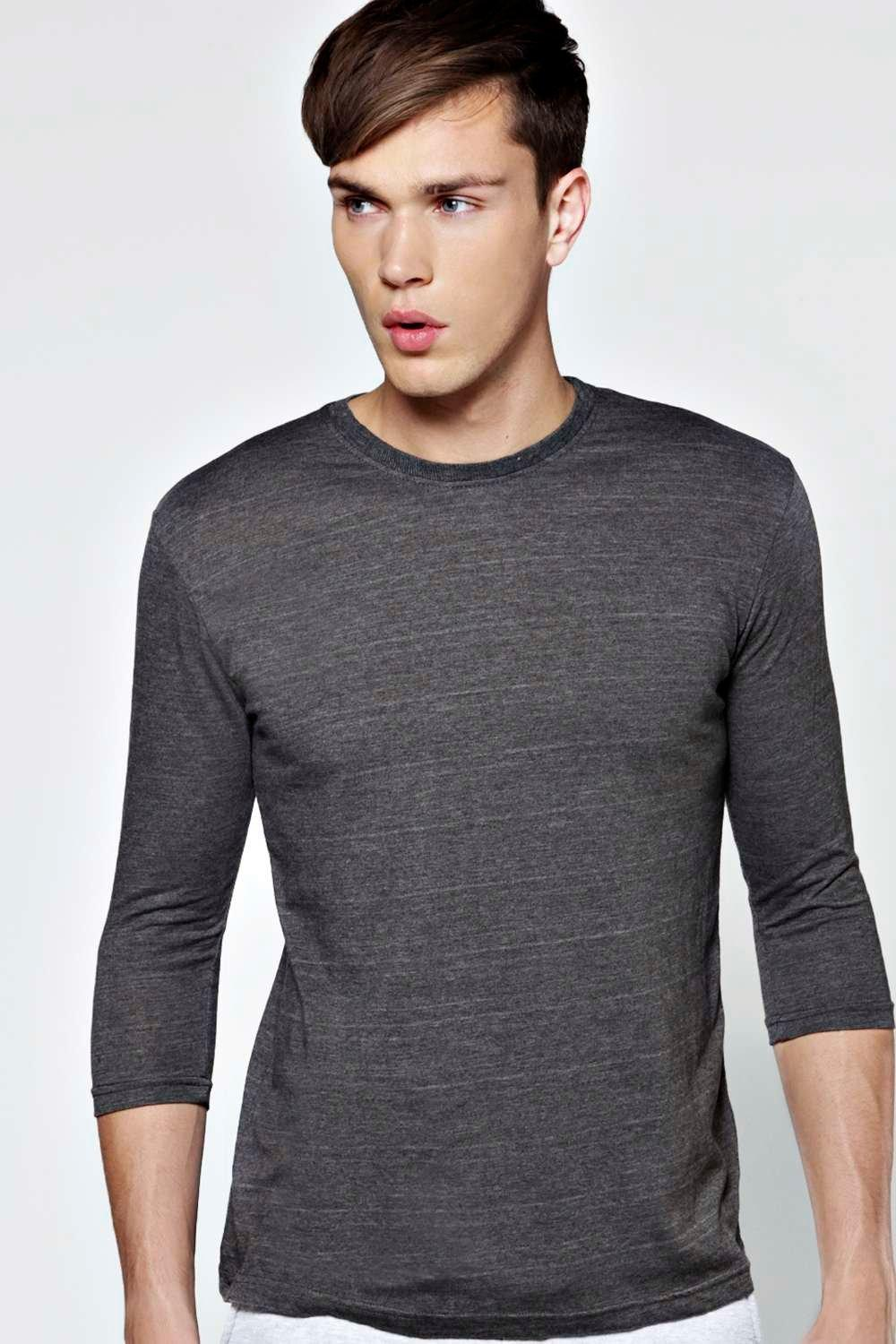 Image of 3/4 Sleeve Crew Neck T Shirt - charcoal