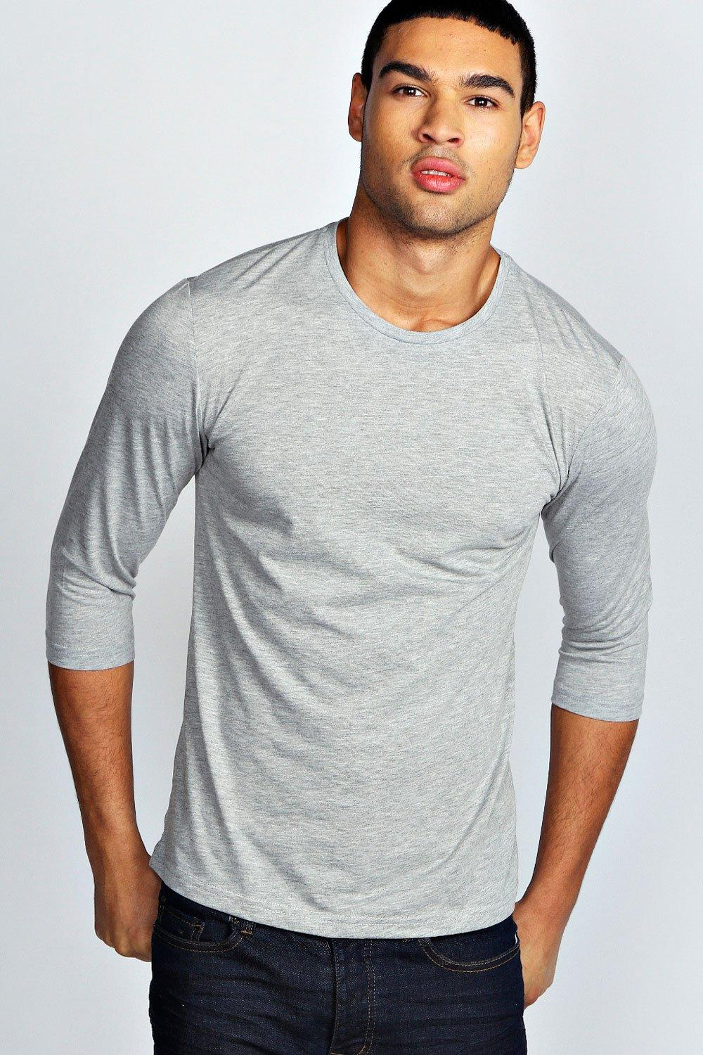 Basic 3/4 Sleeve Crew Neck T Shirt