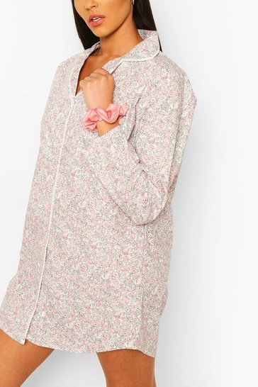 Pink Floral Woven Night Shirt