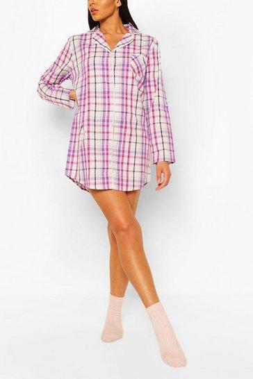 Pink Check Cotton Nightshirt