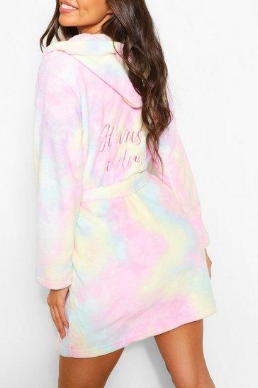Multi 'It was all a dream' Tie Dye Dressing Gown
