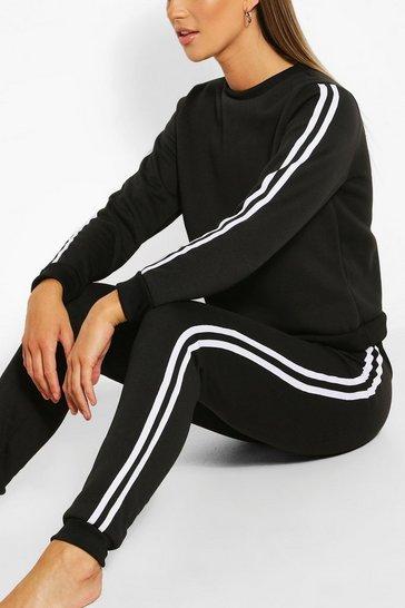 Black Side Stripe Sweat & Jogger Set