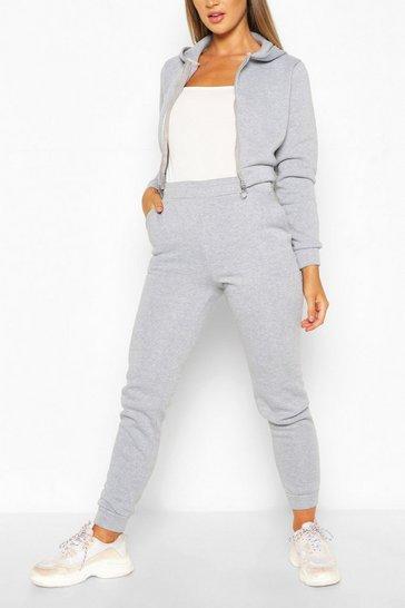 Grey Hooded Zip Through Crop & Jogger Set