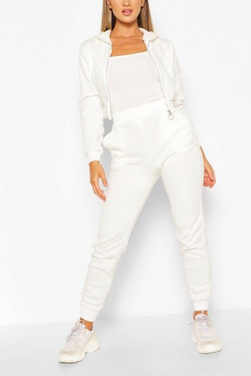 White Hooded Zip Through Crop & Jogger Set