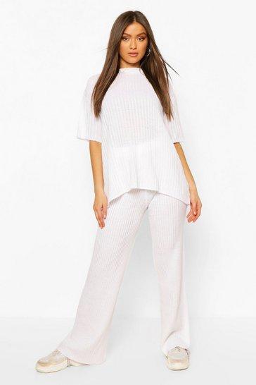 White Short Sleeve Wide Leg Knitted Lounge Set