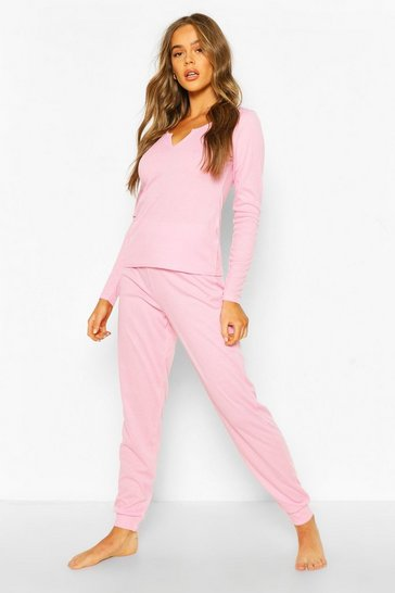 White Notch Front Top and Legging Lounge Set