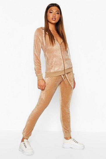 Beige Velvet Hooded Loungewear Set