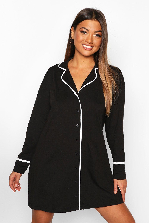 Womens Oversized Nachthemd mit durchgehender Knopfleiste - schwarz - 34, Schwarz - Boohoo.com