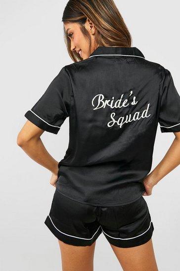 Black Bride's Squad Satin Embroidered Pj Short Set