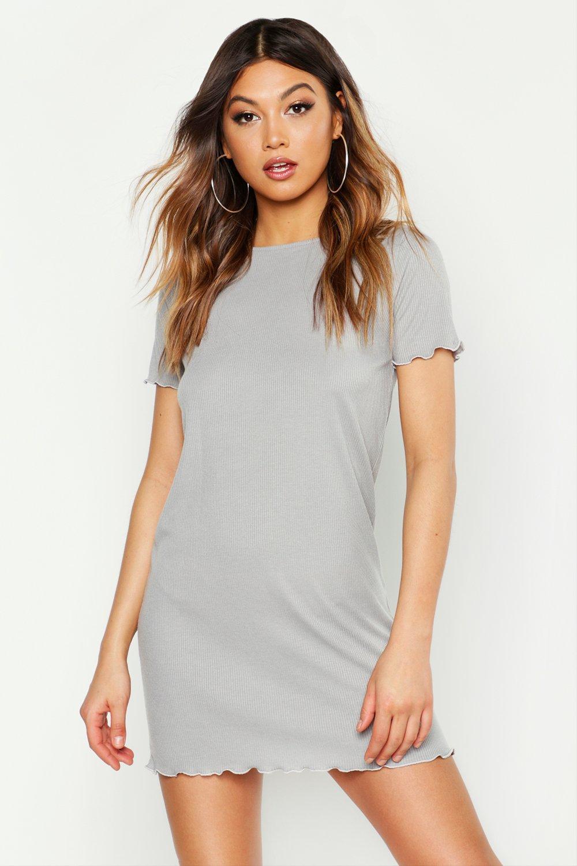 Womens Nachthemd mit gekräuseltem Saum - Grau meliert - 38, Grau Meliert - Boohoo.com