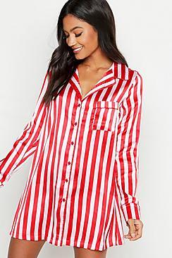 Gestreiftes Nachthemd aus Satin - Boohoo.com