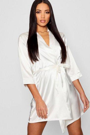 White Satin Kimono Robe
