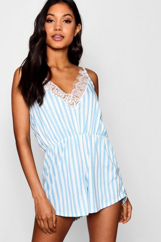Stripe & Lace Trim Playsuit
