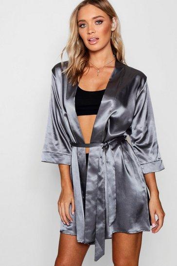Grey Satin Kimono Robe