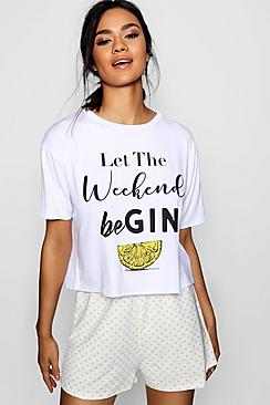 "Pigiama con pantaloncini con scritta ""'Let The Weekend Be Gin"""