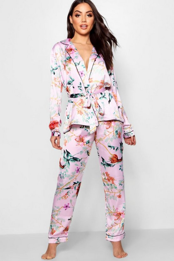 Kitty Oriental Floral Wrap Front Belted Pj Set by Boohoo