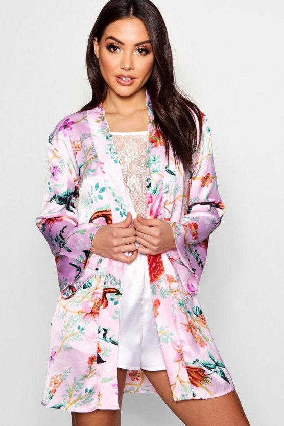 Kirsty Oriental Floral Kimono Robe by Boohoo