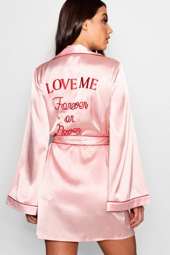 'Forever Or Never' Embroidered Satin Robe