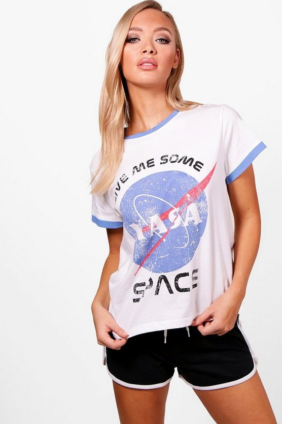 Shorty-Schlafanzug Set mit NASA-Print