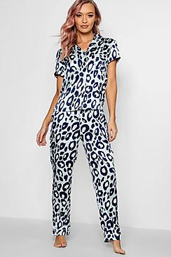 Aqua set pigiama con bottoni a motivo maculato con pantaloni