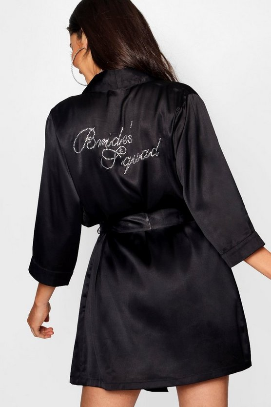 Diamante 'Brides Squad' Satin Robe