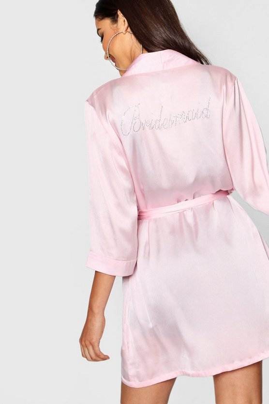 Diamante 'Bridesmaid' Satin Robe