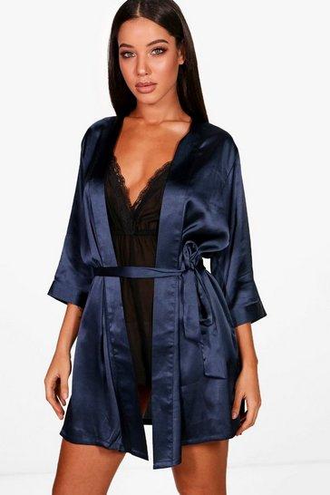 Navy Satin Kimono Robe