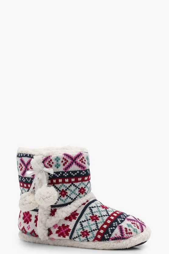 Claire Fairisle Knitted Slipper Boots