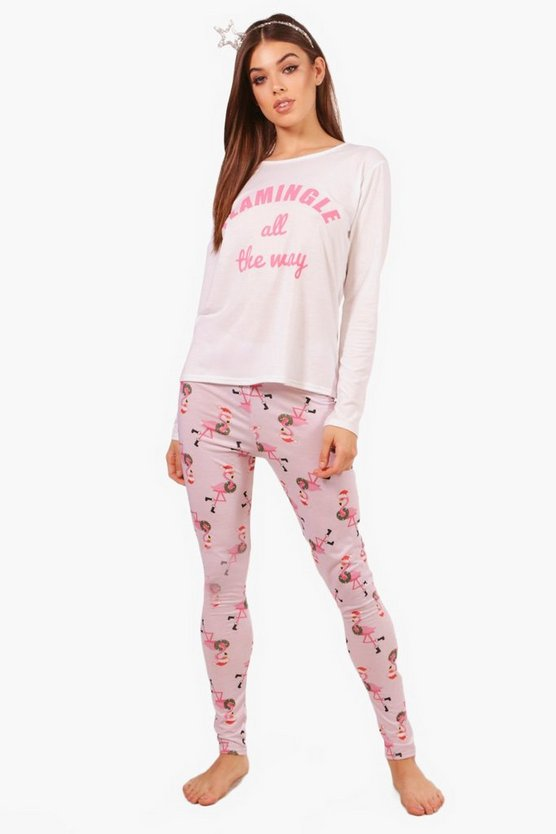 Abbie Pink Flamingle Christmas Long Sleeve & legging Set