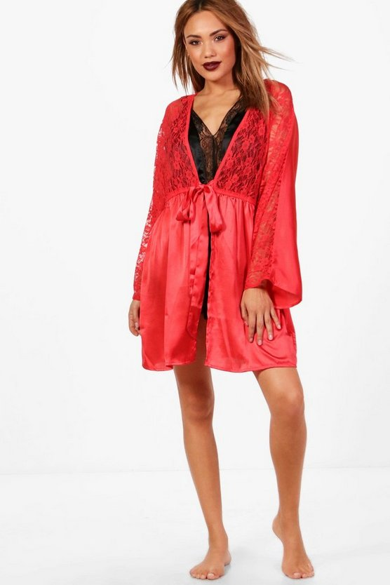 Summer Lace Short Satin Night Robe