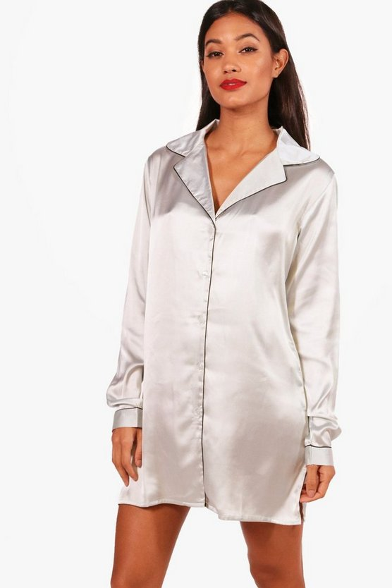 Katie Satin Button Through Night Shirt
