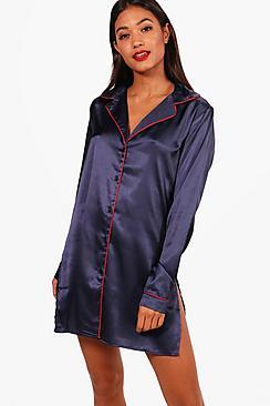 Katie Nachthemd aus Satin mit Knopfleiste - Boohoo.com